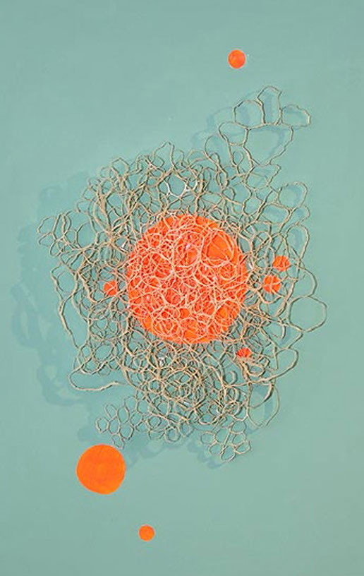 Pattern 3 Orange Dot , 2012, paper, 24 x 17 x .5 in.
