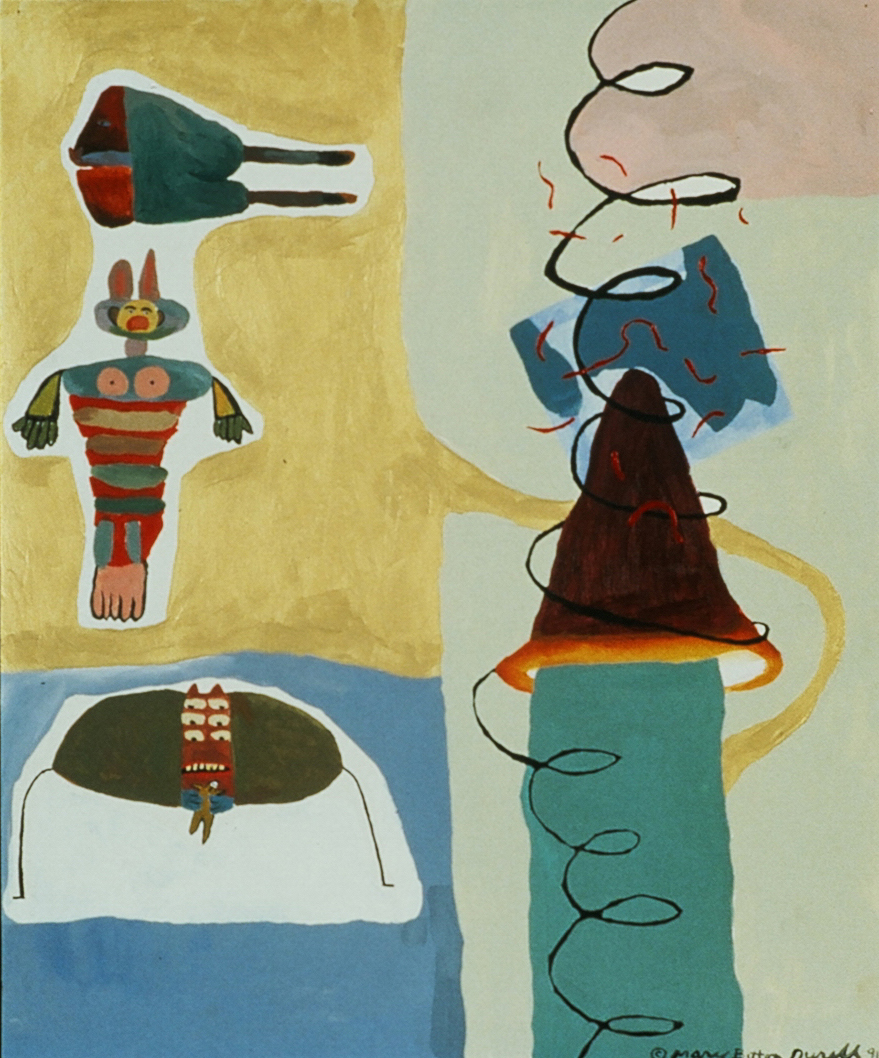 Legs in Common , 1992, acrylic on canvas, 14 x 17 in.