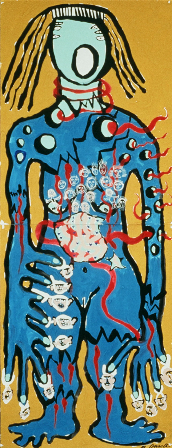 """Painting Experience 13, 1991, Tempera on Paper  1 '8"""" x 4' 4"""""""