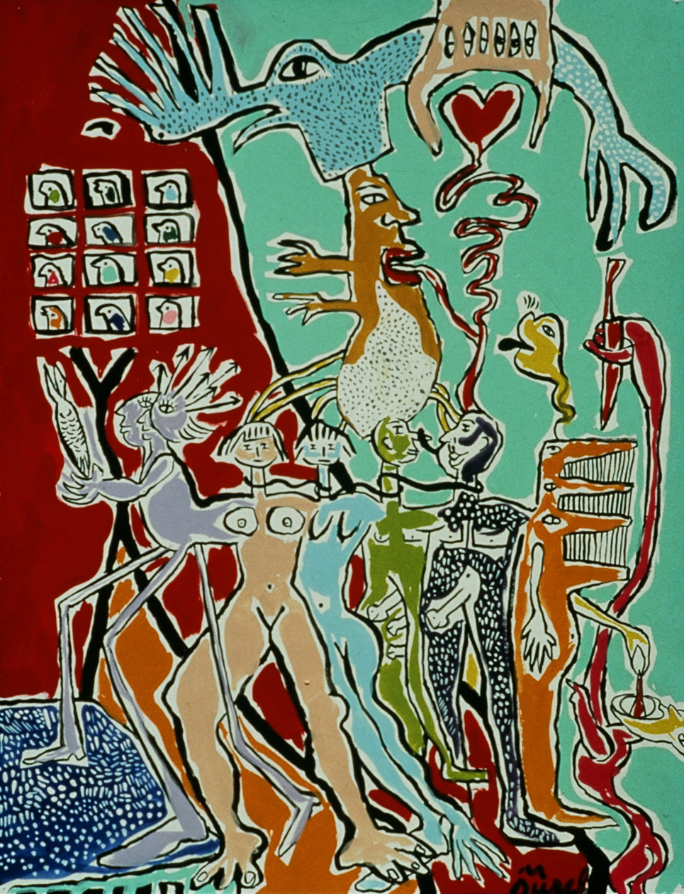 Painting Experience , 1991, tempera on paper, 20 x 26 in.