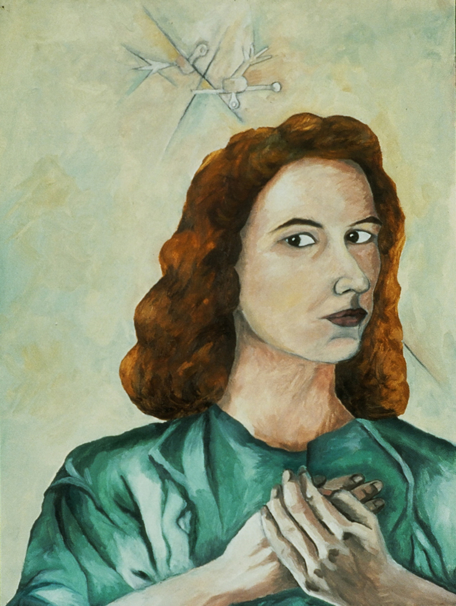 """Self Portrait, 1988, Oil on Canvas  8"""" x 24"""" in."""