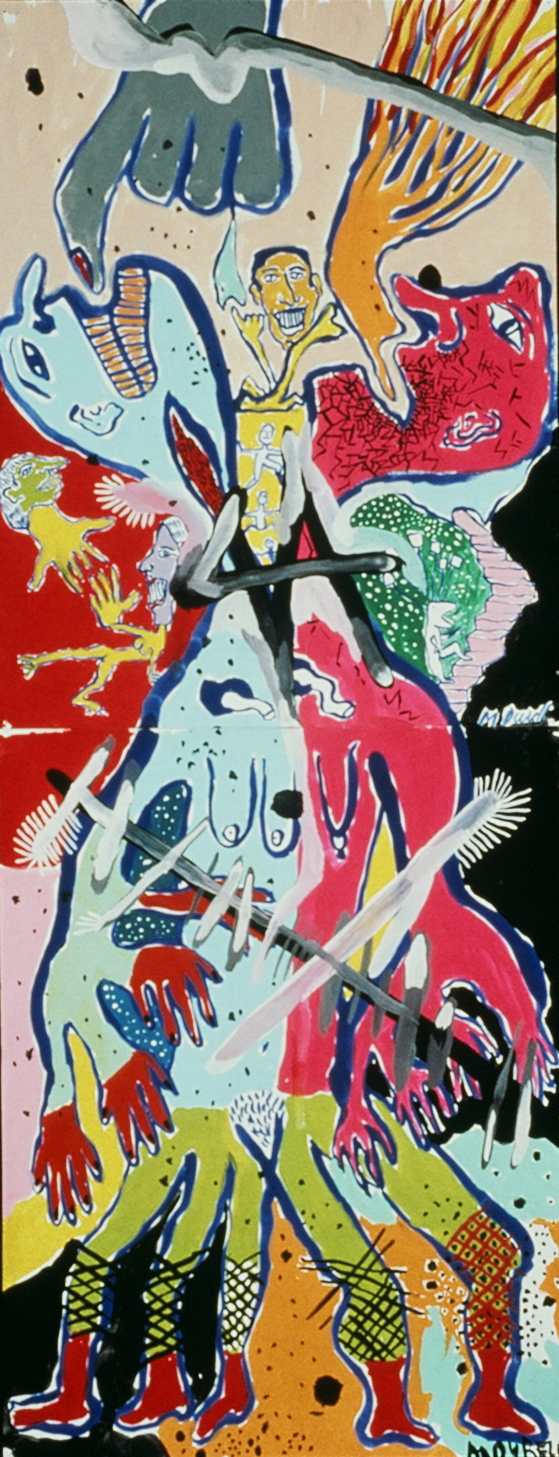 """Painting Experience 7, 1991, Tempera on Paper  1 '8"""" x 4' 4"""""""
