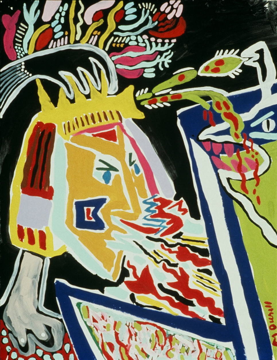 """Painting Experience 14, 1991, Tempera on Paper  14"""" x 16"""" in."""