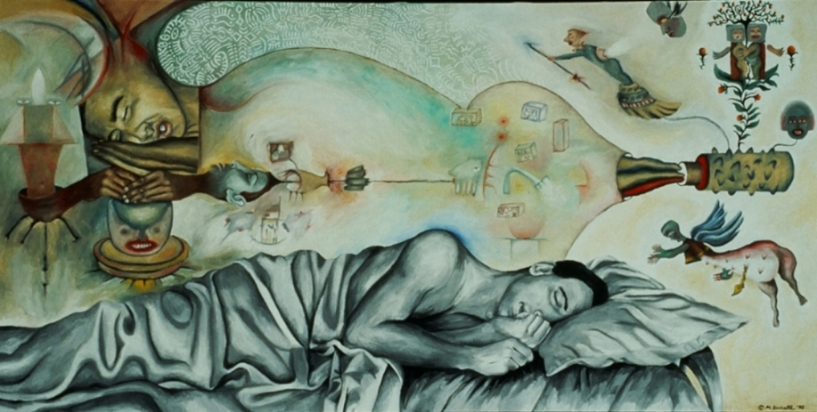 Dream Tube,  1990, oil on canvas, 42 x 72 in.