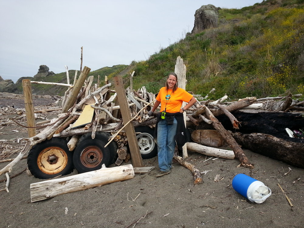 Cleaning up Driftwood Beach on Earth Day