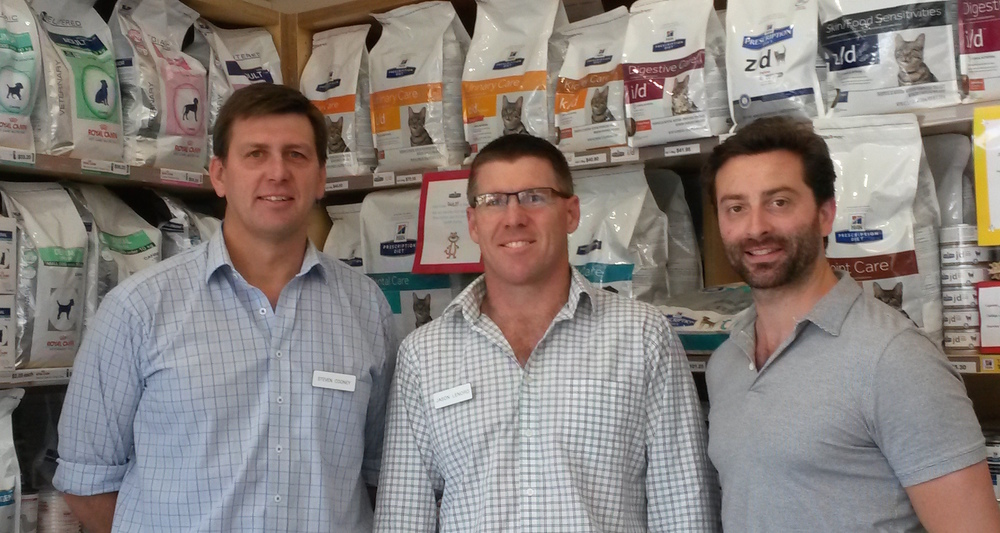 Dr. Steve Cooney, Dr. Jason Lenord and Dr. Nathan Harris at Balmain Veterinary Hospital