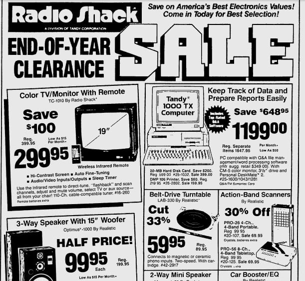 Wow, 20-MB hard drive for only $1200! Pretty funny how all of these gadgets are now standard on an iPhone.