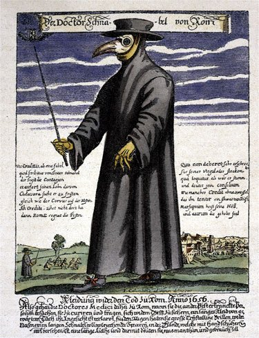 If the plague didn't kill you, the sight of its terrifying doctors surely would have. See the doctor in background, beating off the sick, just like Hippocrates said?