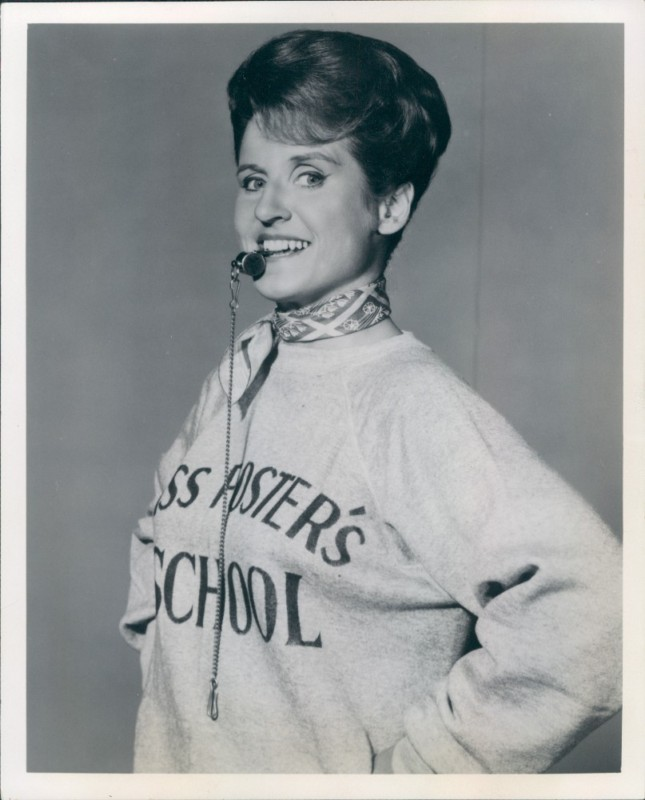 Aptly cast as physical education instructor Ms. Wilson on  The John Forsyth Show . She sure looks at home with that sweatshirt and whistle ;)