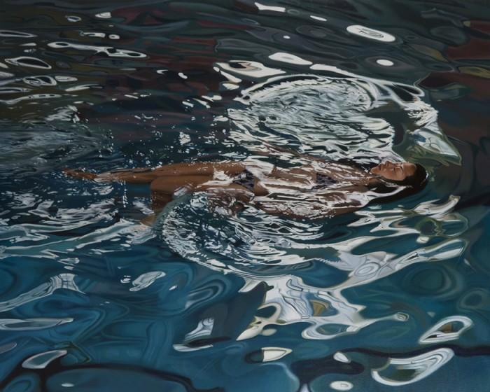 Nage Acrylique sur toile, 162 x 130 cm, 2015  Courtesy Galerie ALB