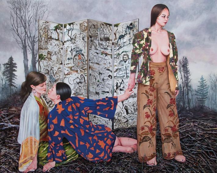 """Nazanin Pouyandeh, """"L'inutile beauté"""", 2015. Huile sur toile, 220 x160 cm. Courtesy de l'artiste & galerie Sator"""