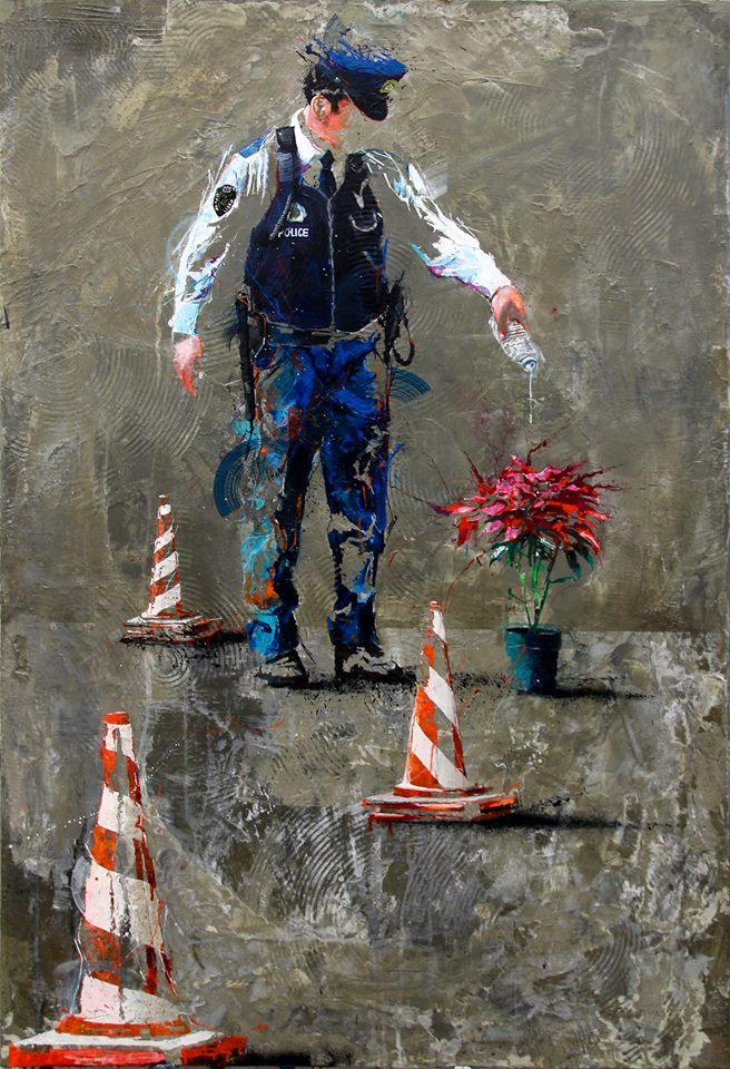BIO COP, acrylique, résine et ciment sur toile, 130 x 89 cm