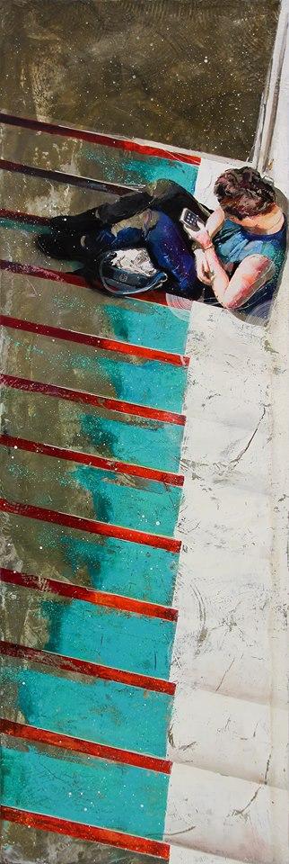 Le monde est devant toi, acrylique, résine et ciment sur toile, 150*50 cm