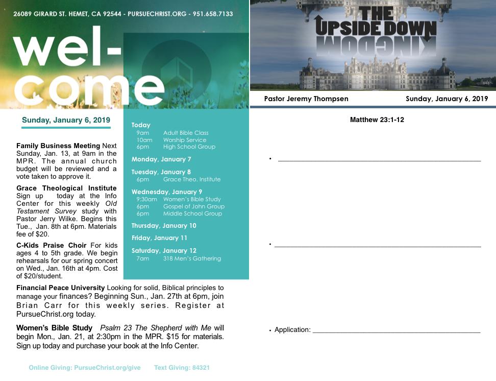 Bulletin and Sermon Notes January 6, 2019