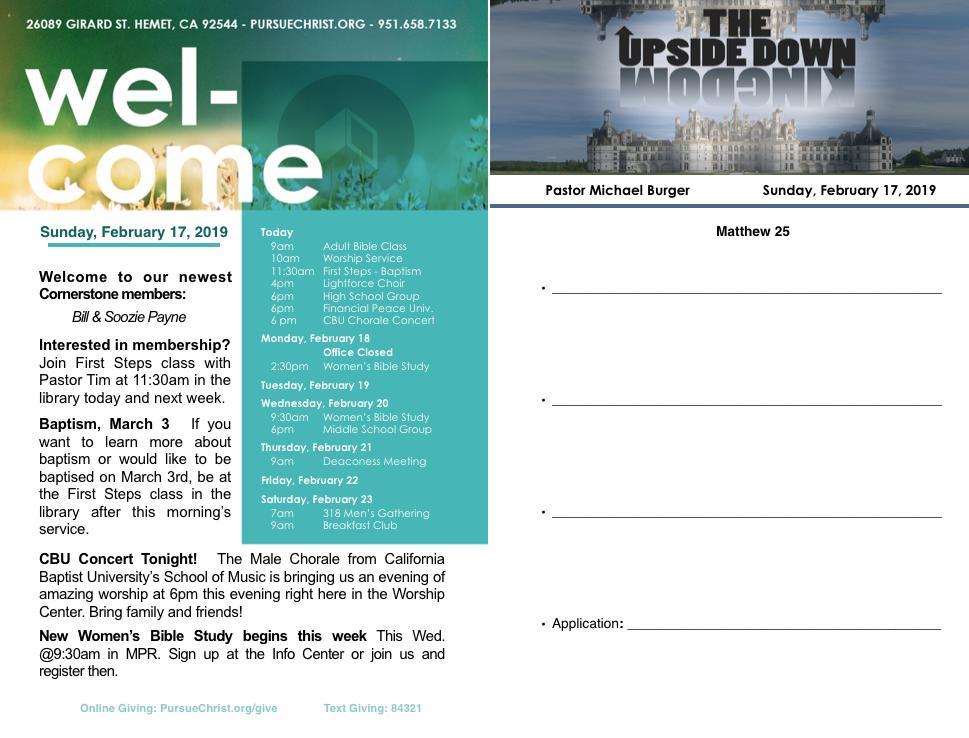 Bulletin and Sermon Notes February 17, 2019