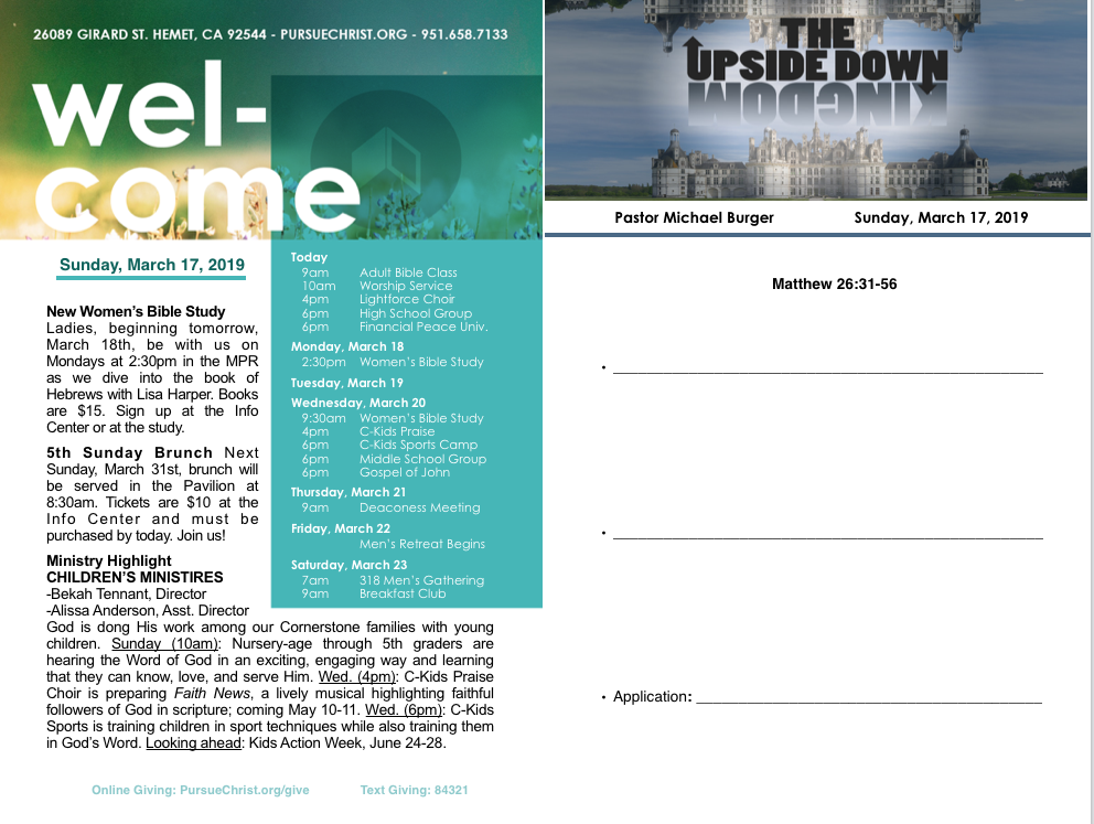 Bulletin and Sermon Notes March 17, 2019