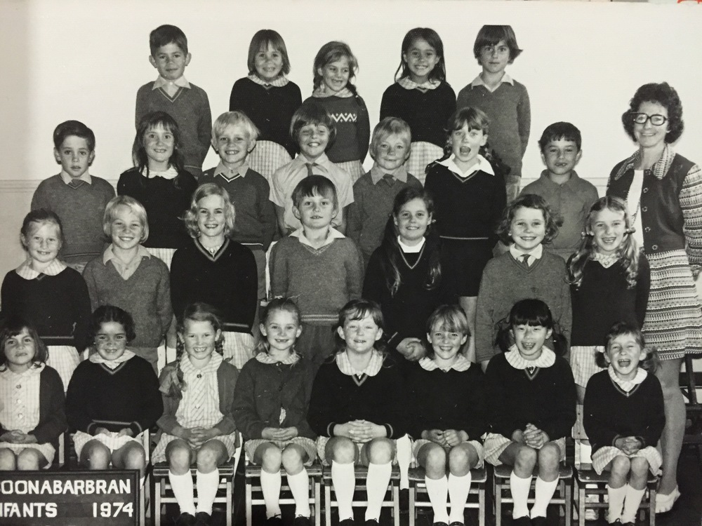 It pains me to see that Miss Doherty did not wear her sleeve protectors for our class photo. It delights me, however, that I got to stand right by her for the photo (second row, far right, sporting my best grin).