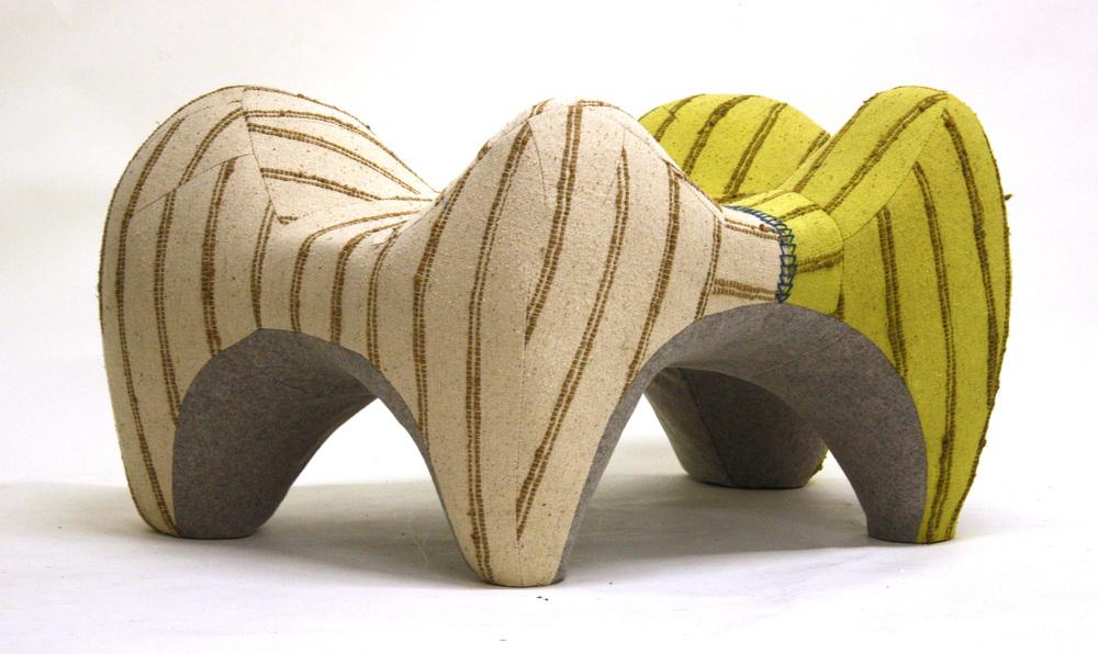 Tarantula , 2012  Hand-dyed vintage linen and jute weave, industrial felt