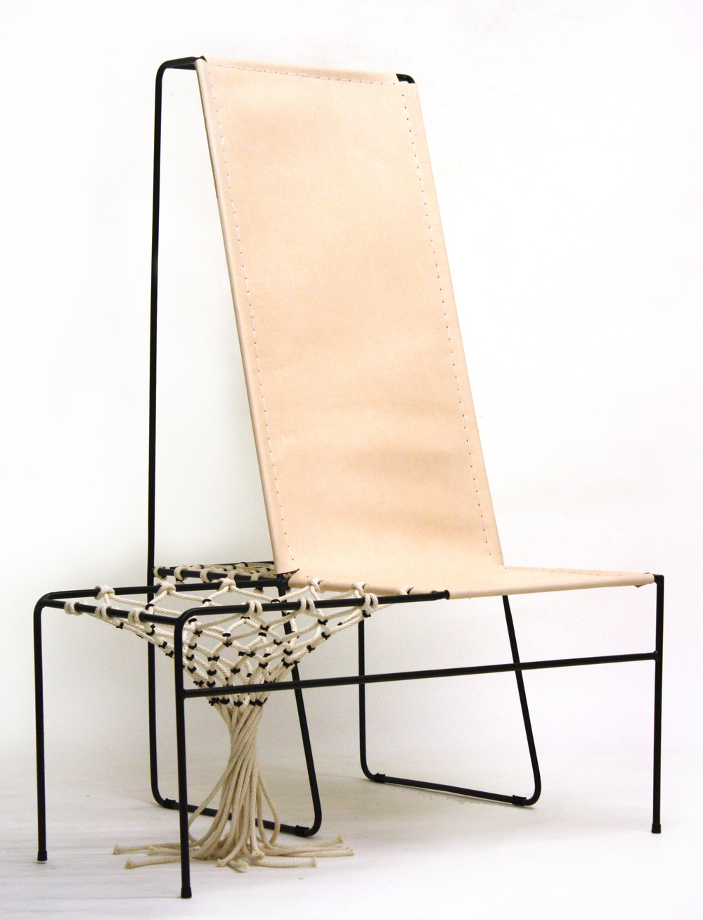 Paper Clip Basket Lounge , 2012  Steel rod, leather, cotton rope