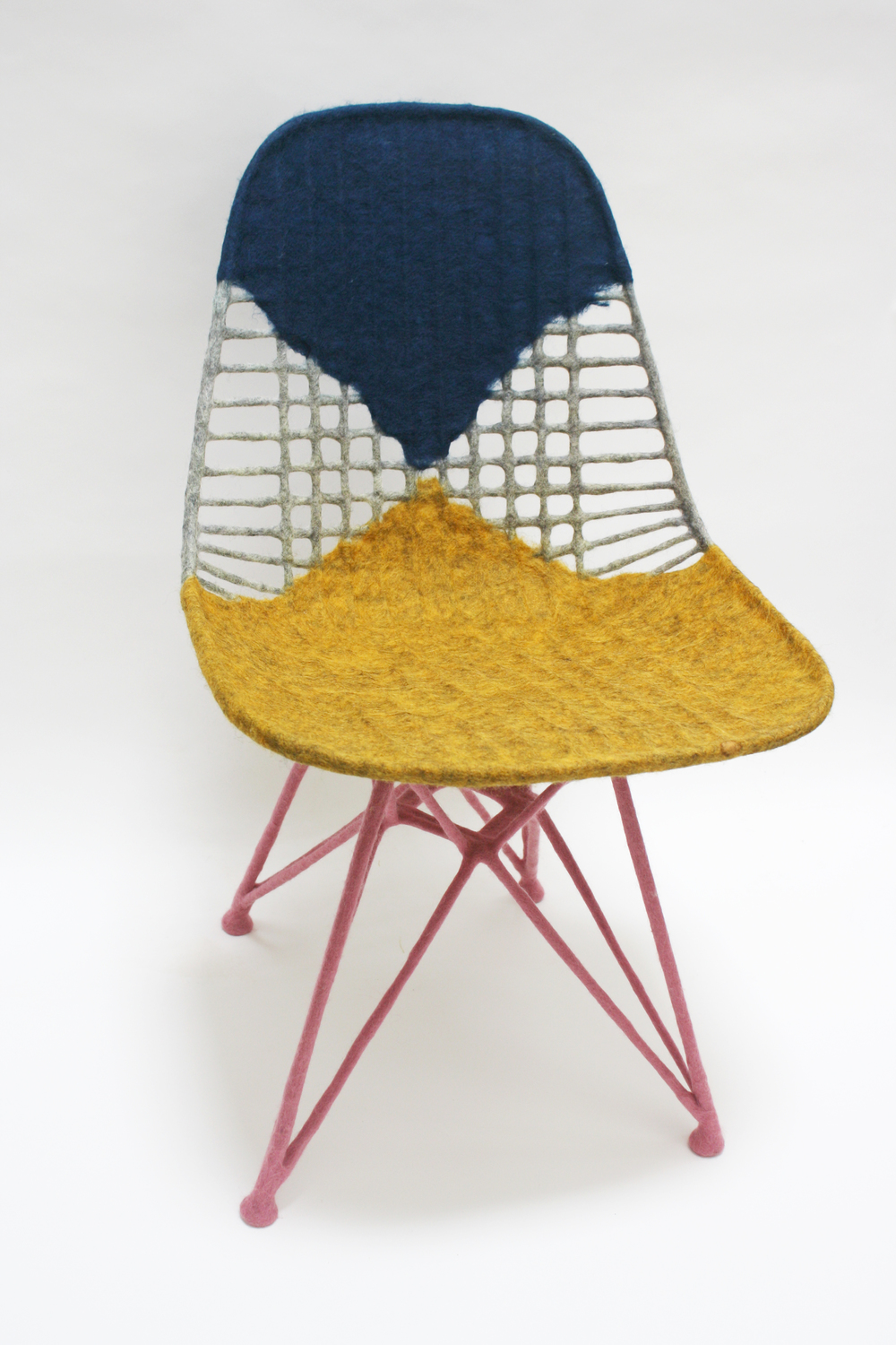 Chair for Ray , 2014  Felted raw wool on Eames Wire Chair  Collection of Los Angeles County Museum of Art (LACMA)  Gift of Margaret and Joel Chen