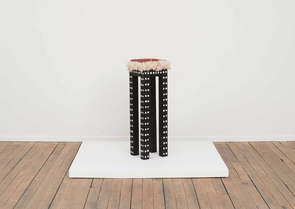 Soothe Table (Provide) , 2015  Charred poplar, self-drying clay, terra-cotta, wool  10 x 10 x 35.5 inches  Image courtesy of Volume Gallery, Chicago, IL