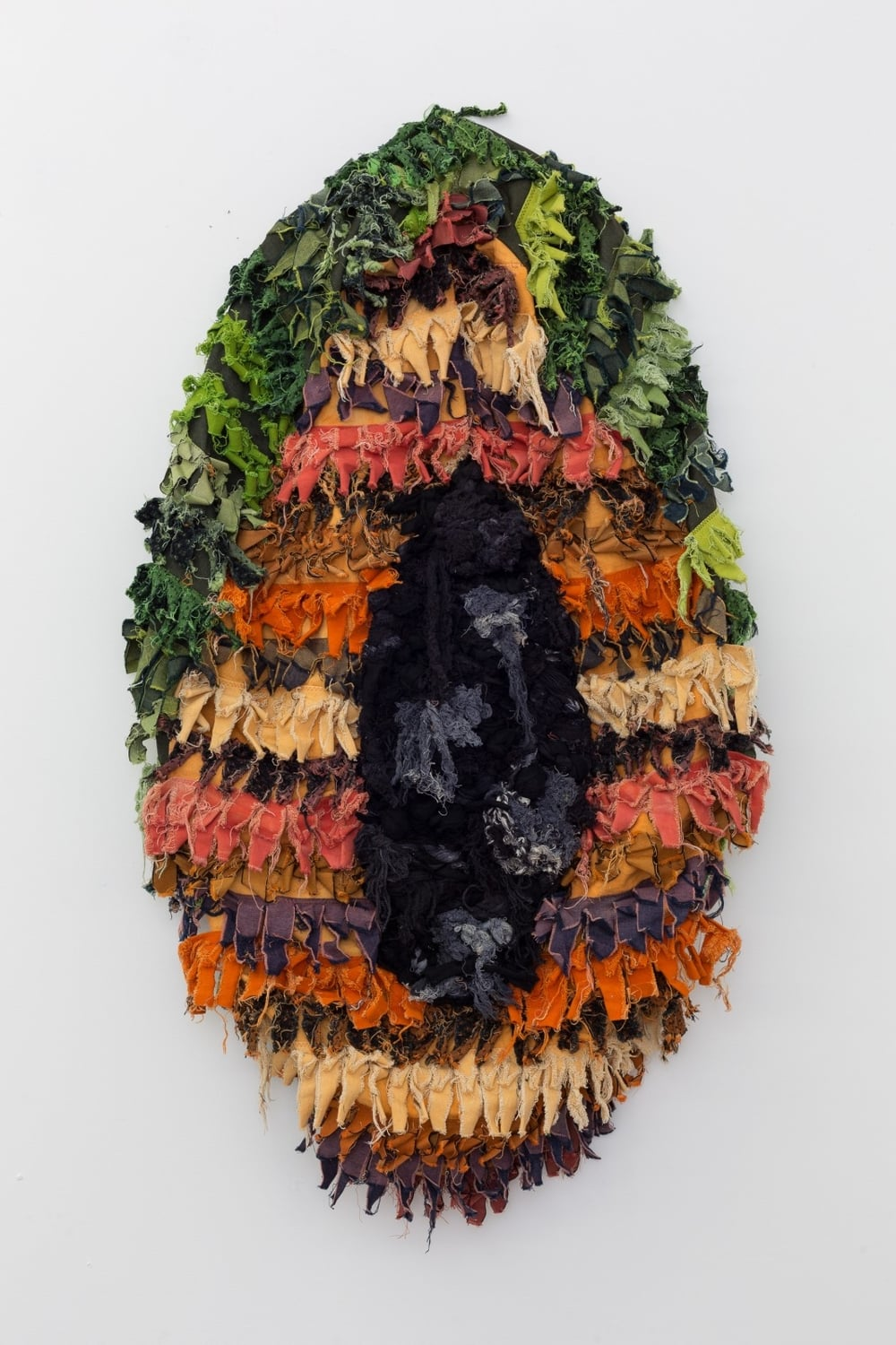 Pubescens Piñata , 2015    Hand-dyed denim, canvas and cotton rope    30 x 48 x 12 in