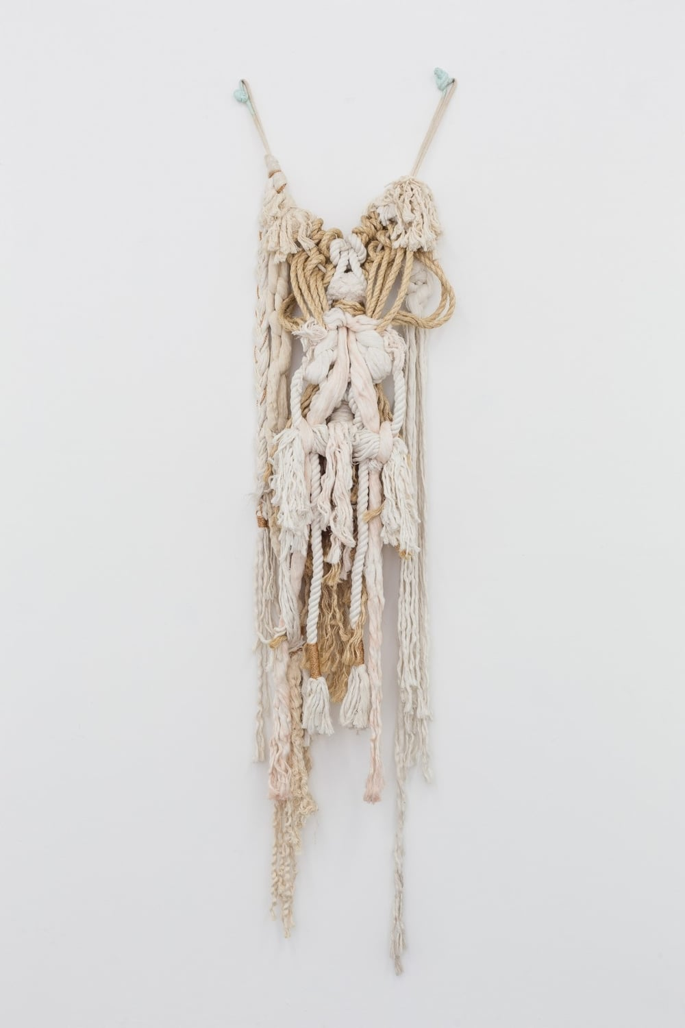 Marine 5 , 2015    Natural and hand-dyed rope, jute, braided copper rope    77 x 24 x 8 in
