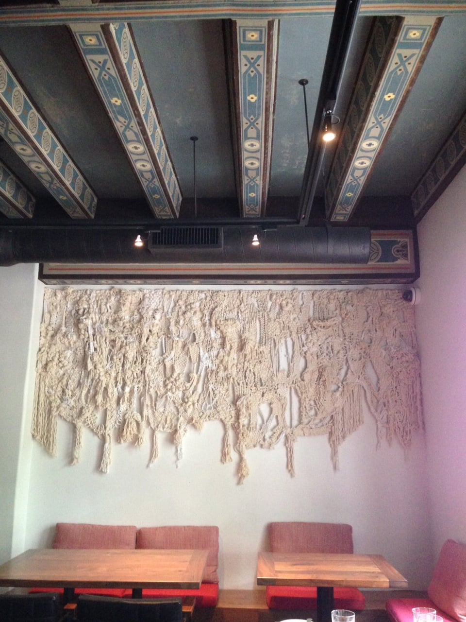 Cotton rope and twine wall hanging commissioned for Redbird, Los Angeles, 2015