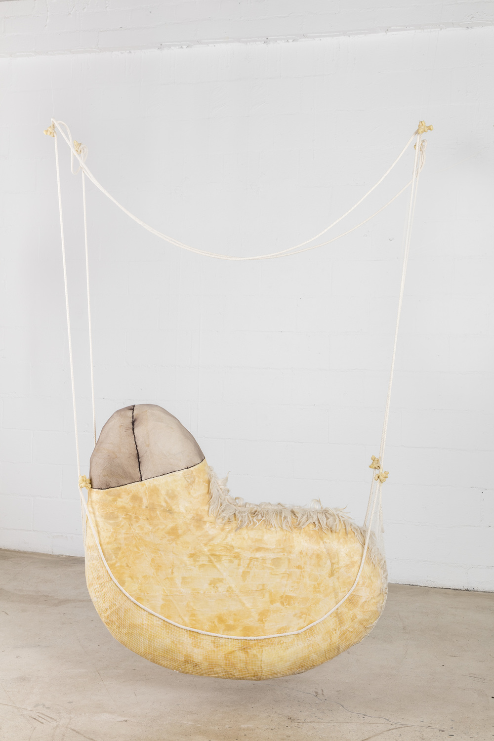 Tanya Aguiniga   Beasts of Burden , 2016  Cotton rope, cotton thread, foam, gauze, alpaca, nylon and beeswax  74 x 52 x 13 inches