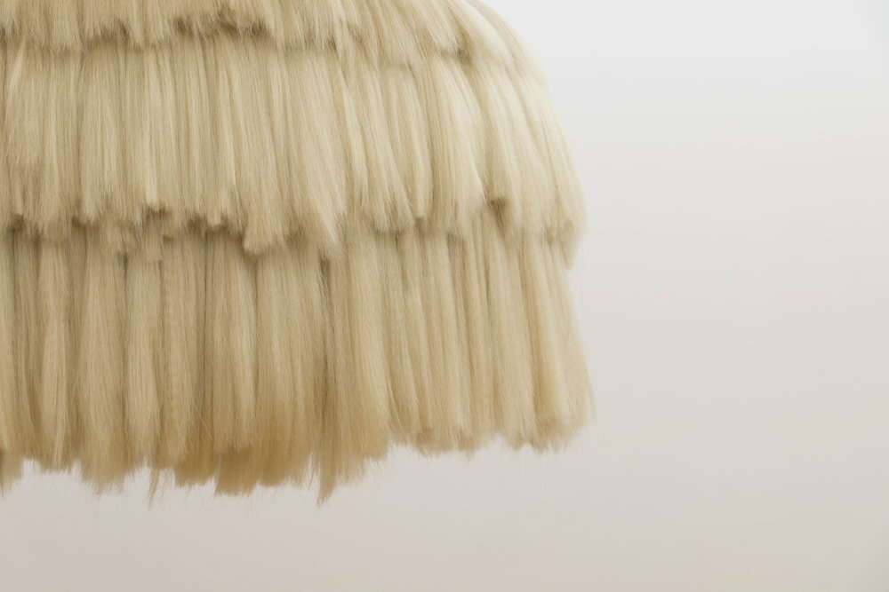 Palapa (detail),  2017  Synthetic hair, powder-coated steel frame  86 x 77 inches
