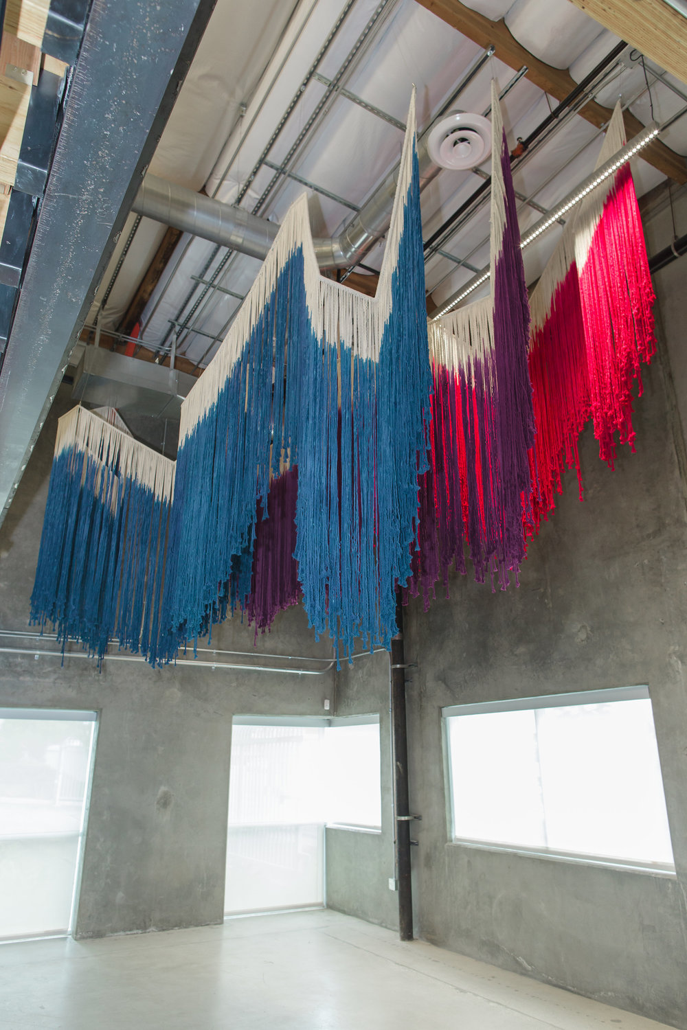 Seismograph Fringe, 2017  Hand-dyed cotton, steel