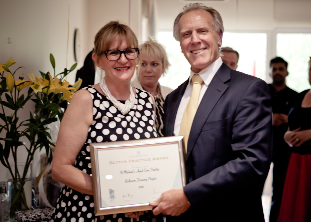 - Nurse Manager Brenda Wells receiving the prestigious 2012 Better Practice Award from Ross Bushrod, General Manager of Aged Care Standards and Accreditation Agency, on behalf of St Michaels & Staff