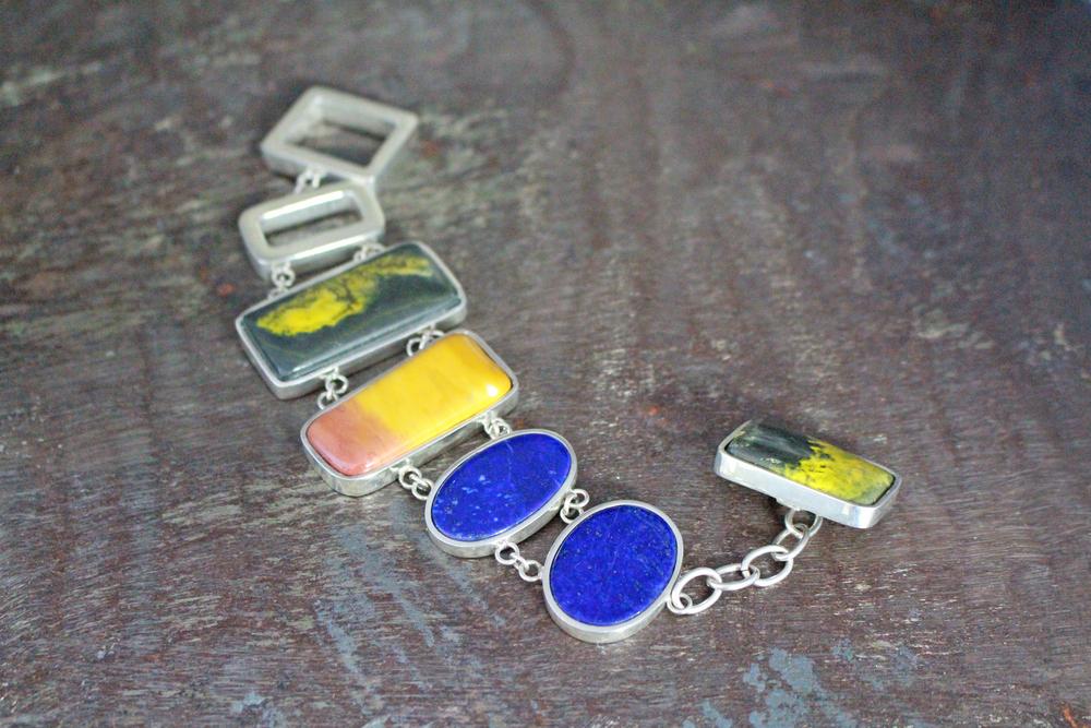 Bumblebee jasper & lapis lazuli bracelet