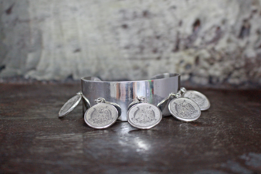 Antique Mexican coin cuff