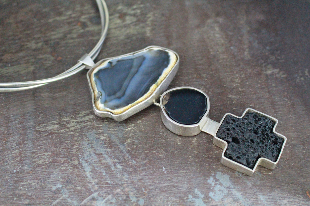 Agate pendant, lava rock cross enhancer & choker