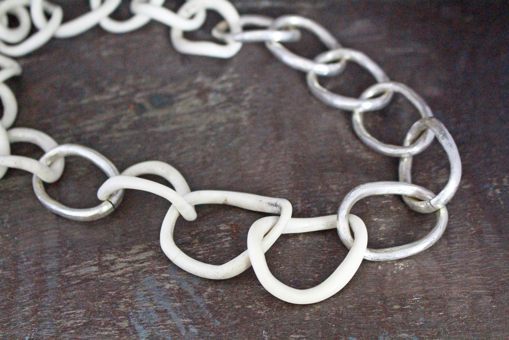 Bone & sterling silver necklace