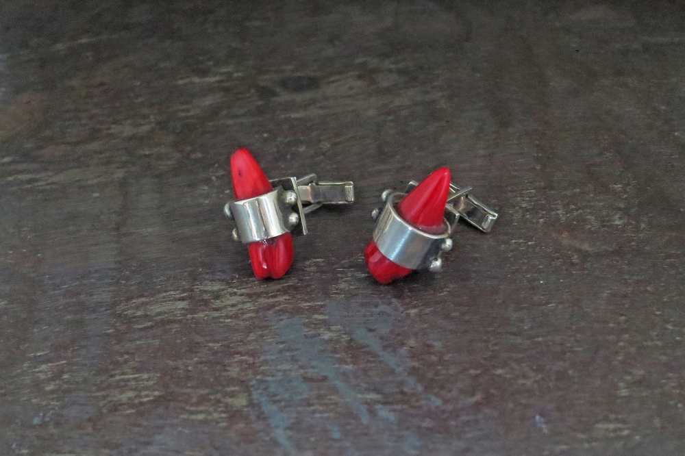 Red coral cufflinks