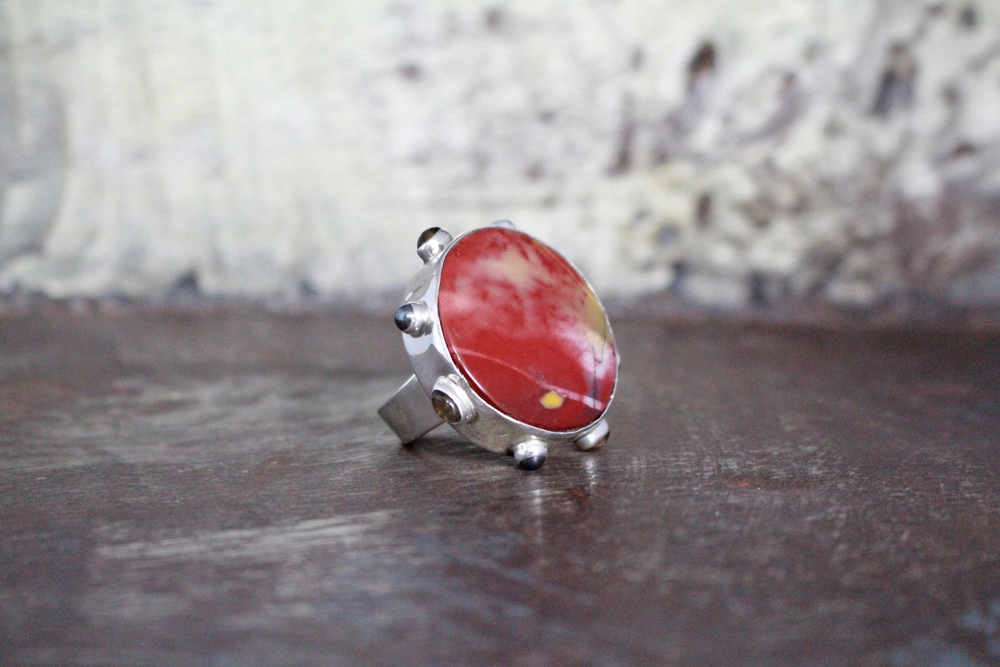 Jasper, pearl & quartz ring
