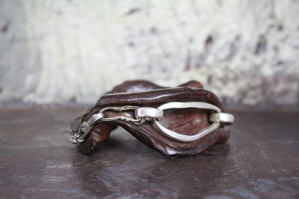 Iron wood & sterling silver bangle