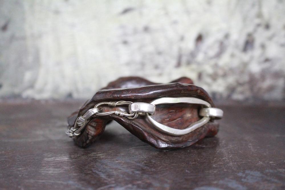 Iron wood & sterling silver bangle