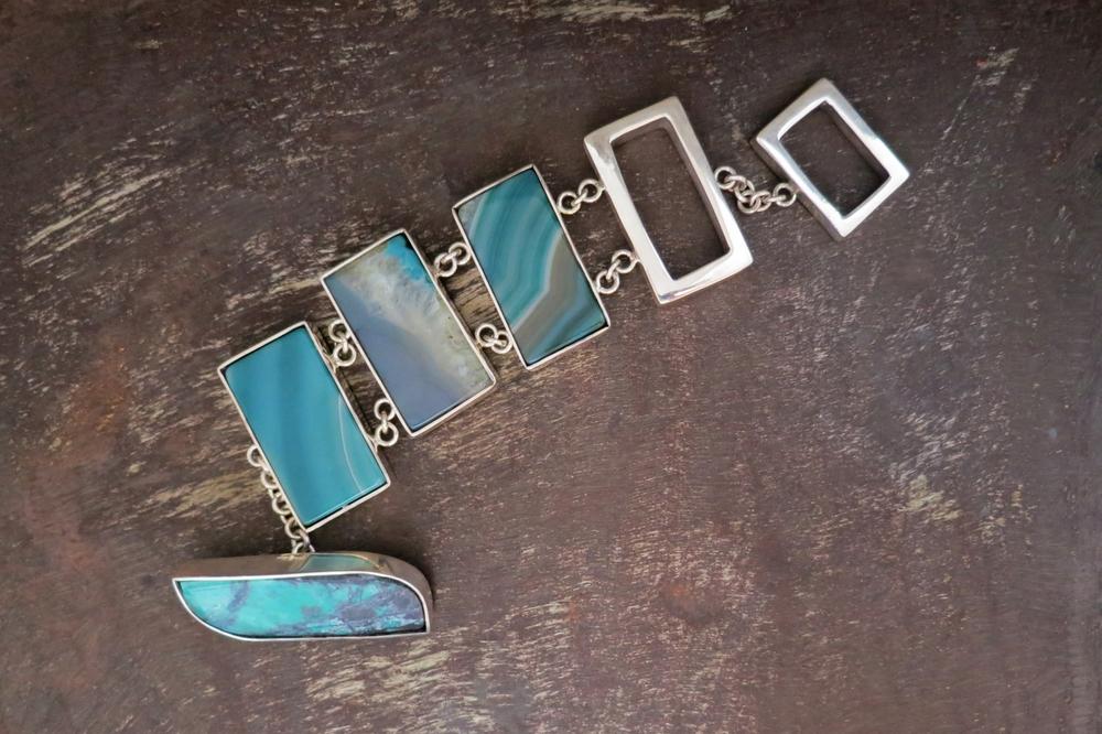 Turquoise & agate bracelet