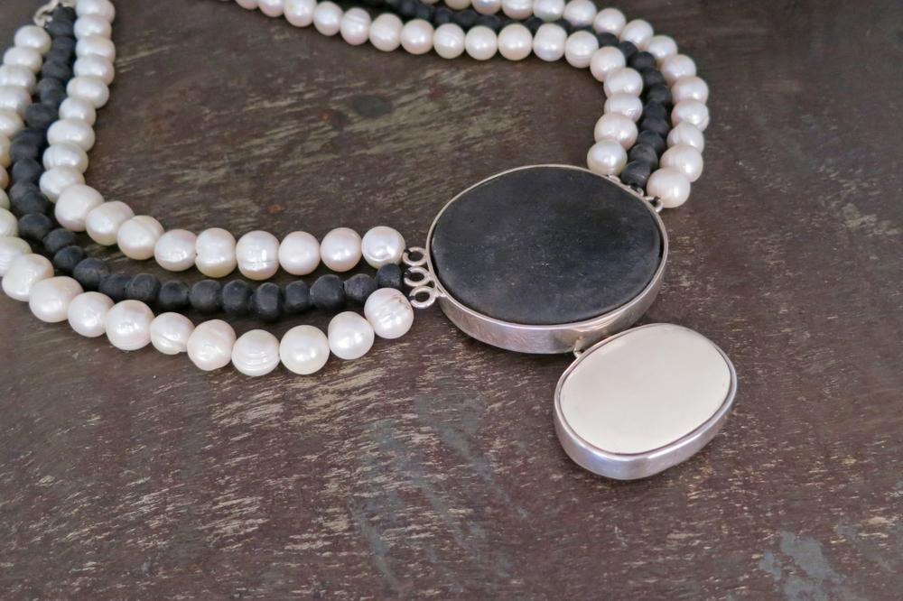 Black clay, pearl & bone necklace