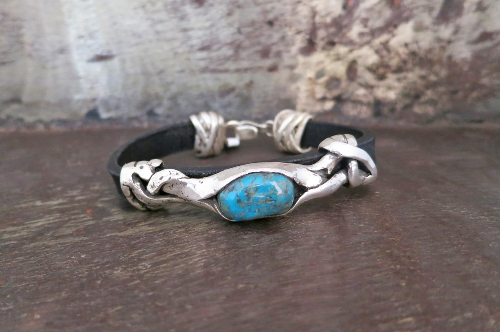 turquoise & leather bracelet