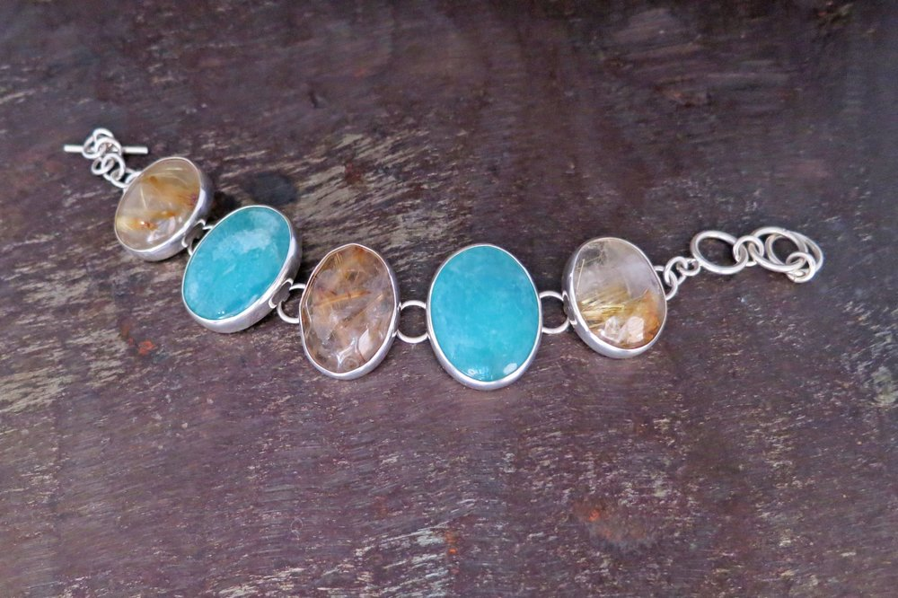 Rutilated Quartz & Amazonite Bracelet