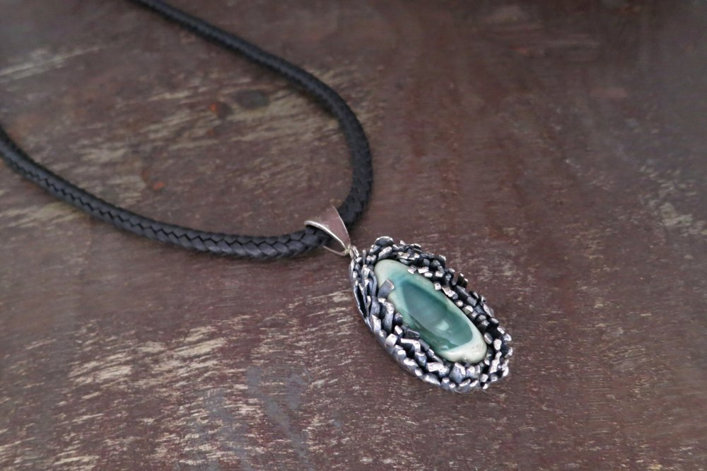 imperial jasper PENDANT & LEATHER CORD