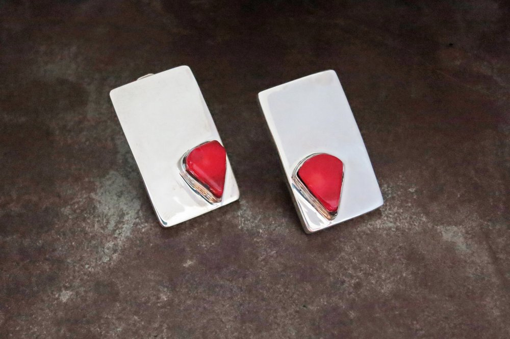 coral clip earrings