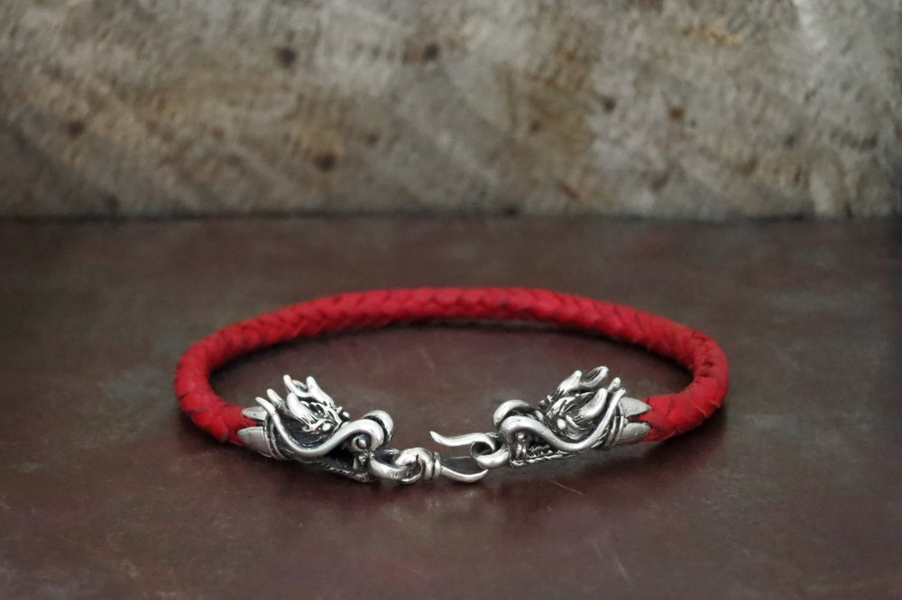 leather & sterling silver bracelet