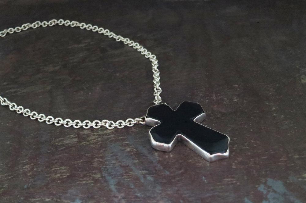 onyx & silver chain