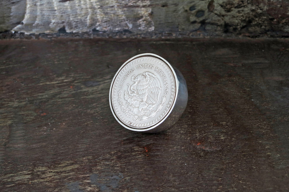 Mexican silver coin ring