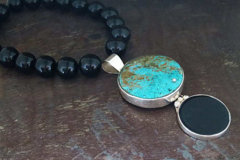 Turquoise & onyx necklace